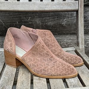 1. State Iddah Perforated Cutaway Bootie Rose Mauv